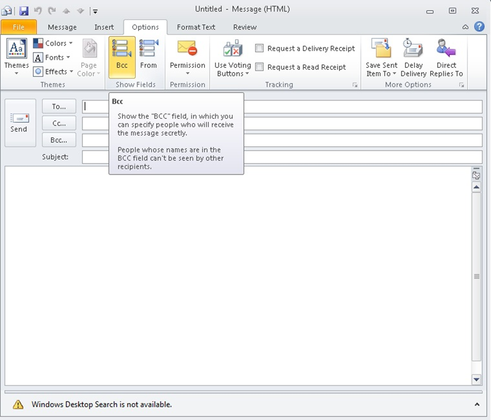 how to add blind copy in outlook